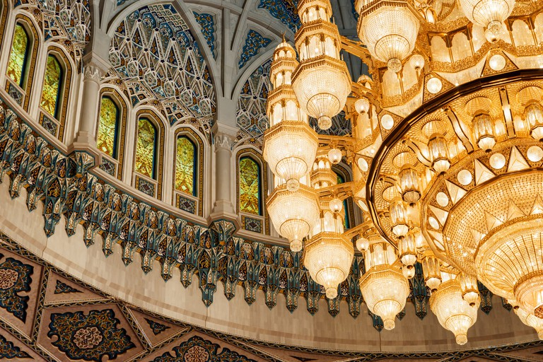 Ceiling and chandelier in the Sultan Qaboos Grand Mosque, Oman