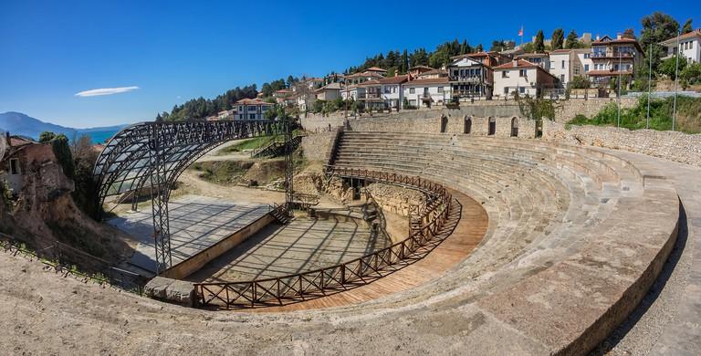 Ancient roman theater in Ohrid in Macedonia