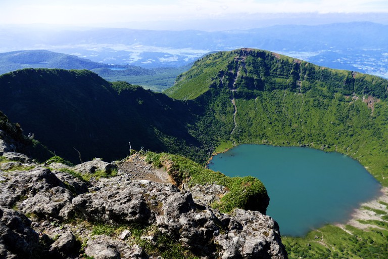 Crater lake of Mt. Karakuni-dake, highest peak in the Ebino kogen area, Kyushu, Japan