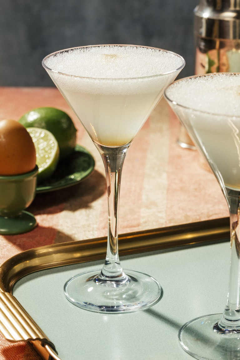 Pisco Sour, a cocktail with Pisco, lime or lemon juice, egg white.