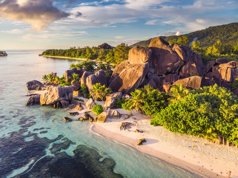 Anse Source d'Argent taken at sunset from a drone