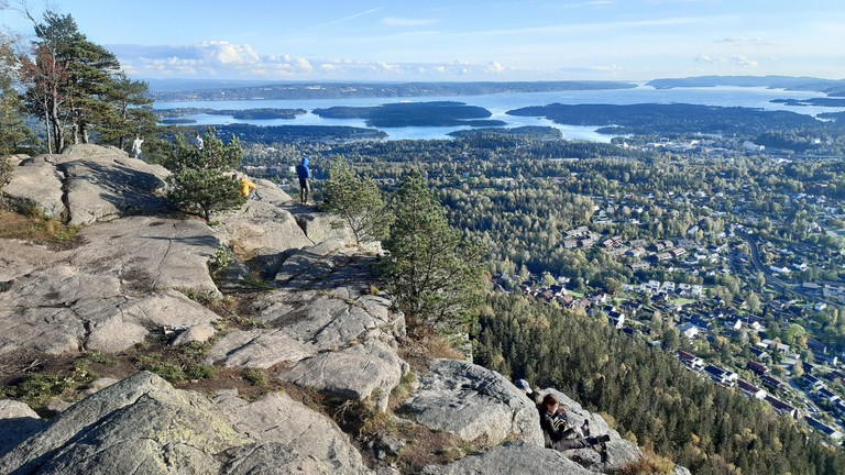 Top of  Kolsåstoppen mountain with panoramic view of Oslo, Norway.