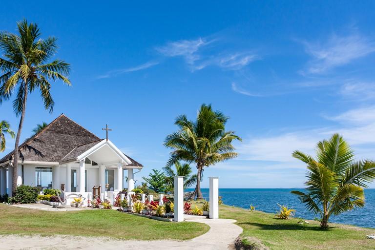 Coastal Church On Sunny Day