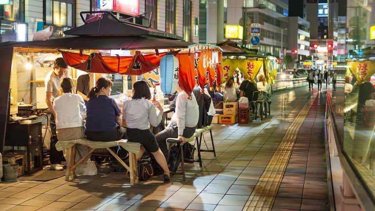 traditional street food in Tenjin district.