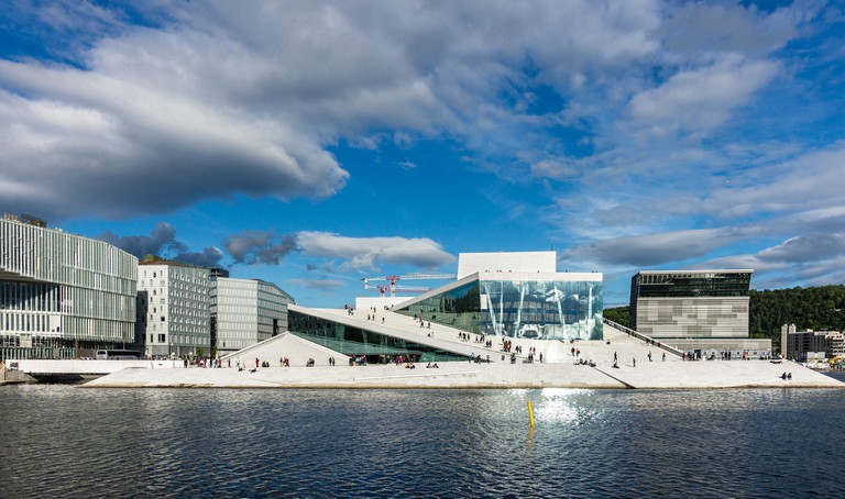 Panoramic View of Oslo Waterfront with Oslo Opera House
