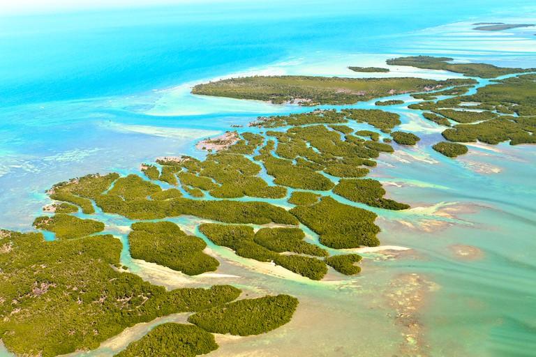 Aerial view of Florida keys and ocean