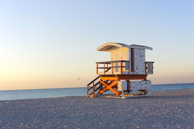 Lifeguard cabin on Miami beach of Florida, United States.