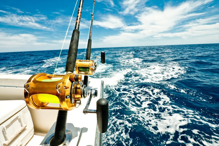 Ocean Fishing Reels on a Boat in the Ocean