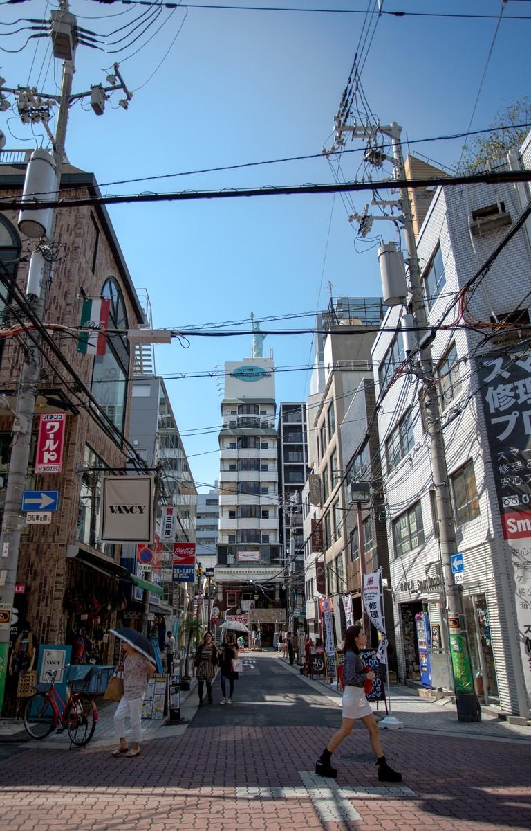The miniature Statue of Liberty is the landmark of Amerikamura (American Village) Osaka.