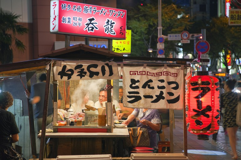 Yatai Mobile Food Stall in Fukuoka's Hakata District in Kyushu, Japan