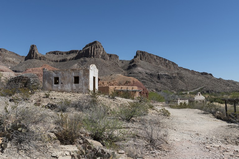 Part of a much-used, now-abandoned western movie set along the Rio Grande River in Big Bend Ranch St