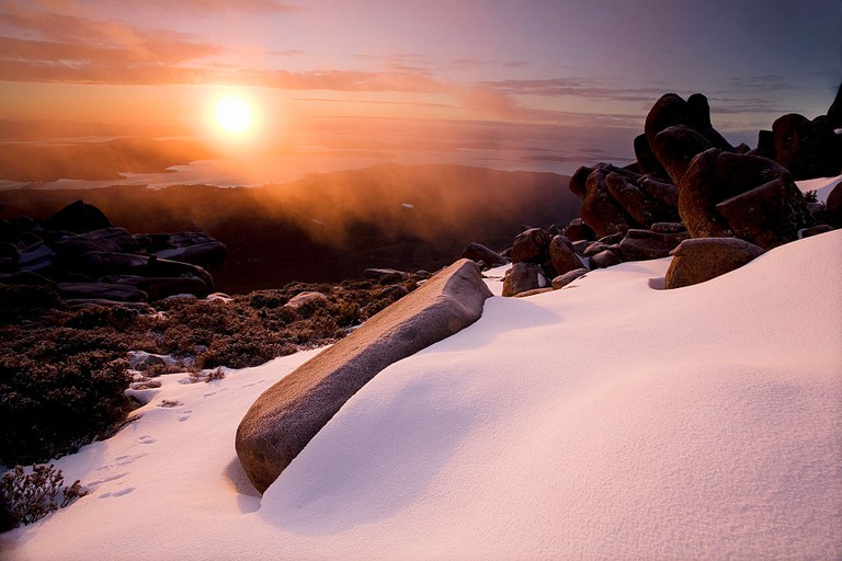 Sunrise on Mount Wellington in winter
