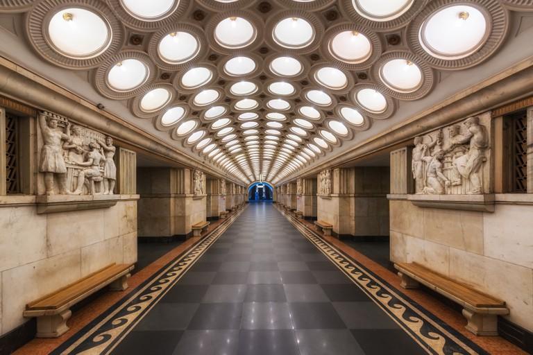 Elektrozavodskaya Moscow Metro Station, Russia.