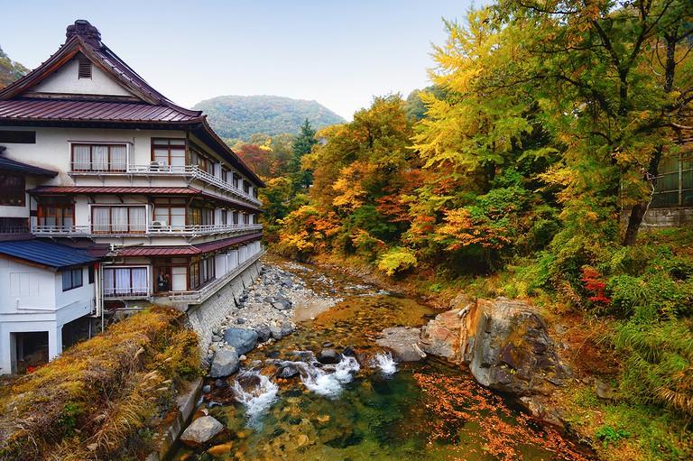 Outdoor onsen at Takaragawa onsen onsekaku