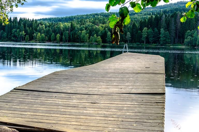 Jetty on Sognsvann Lake in Oslo, Norway