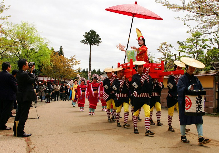 """Performers take part in a reproduction of the """"Procession of Tayu"""" at Edo Wonderland, Nikko."""