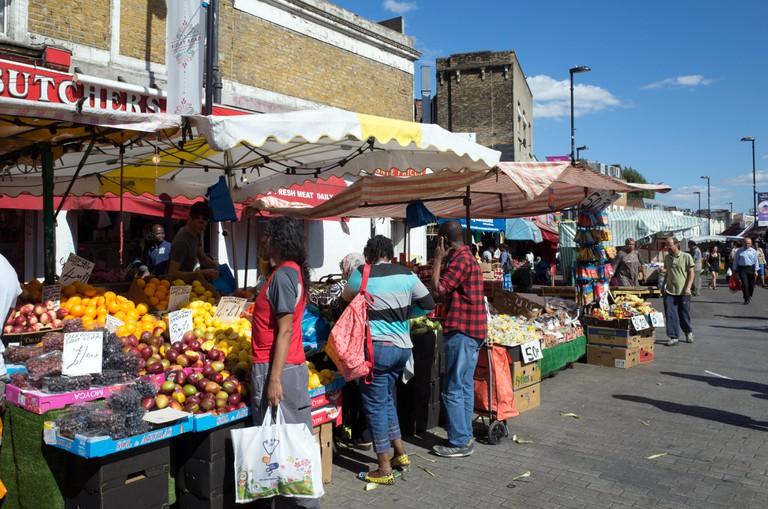 Ridley Road market in Dalston, Hackney, London, England, UK