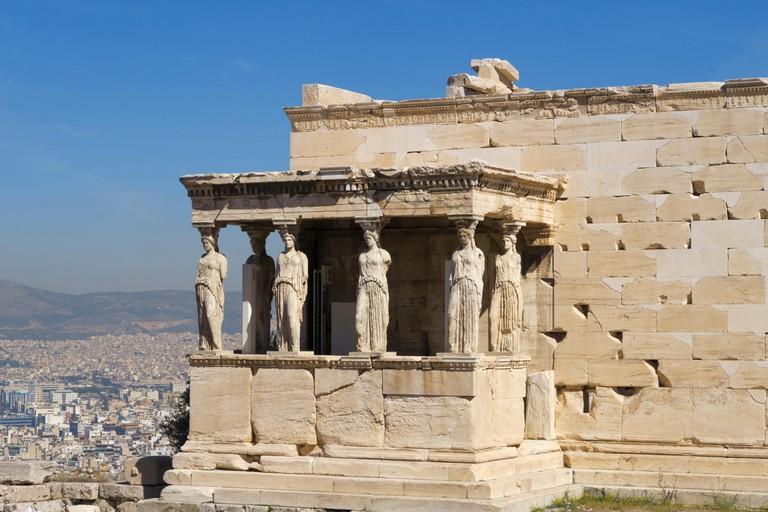 Porch of the Caryatids at the Erechtheion temple, Acropolis, Athens, Greece