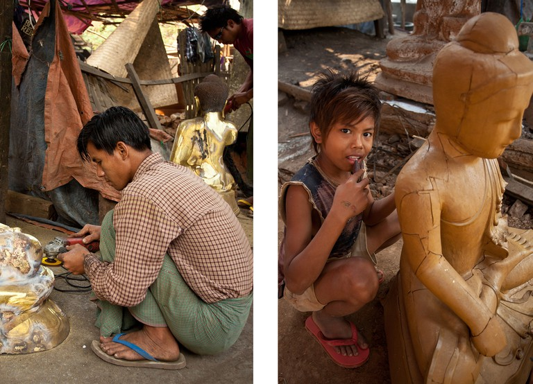 Young sculptors carving Buddhas