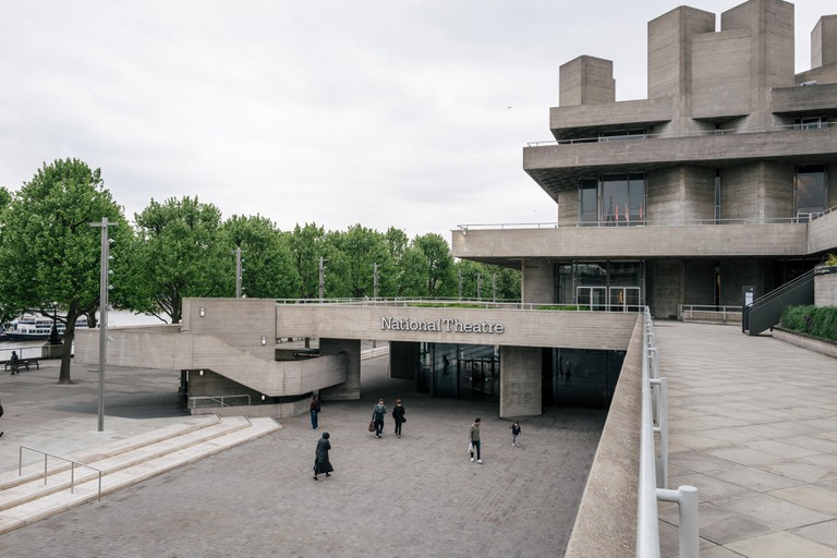 The National Theatre of Great Britain at the Southbank Centre, London. Designed by Denys Lasdun, the building is a famous example of brutalism.