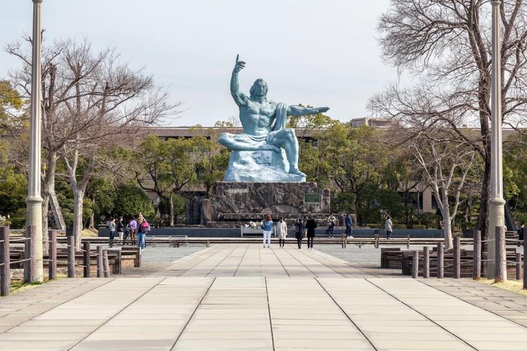 The Peace Statue in Nagasaki Peace Park, Japan.