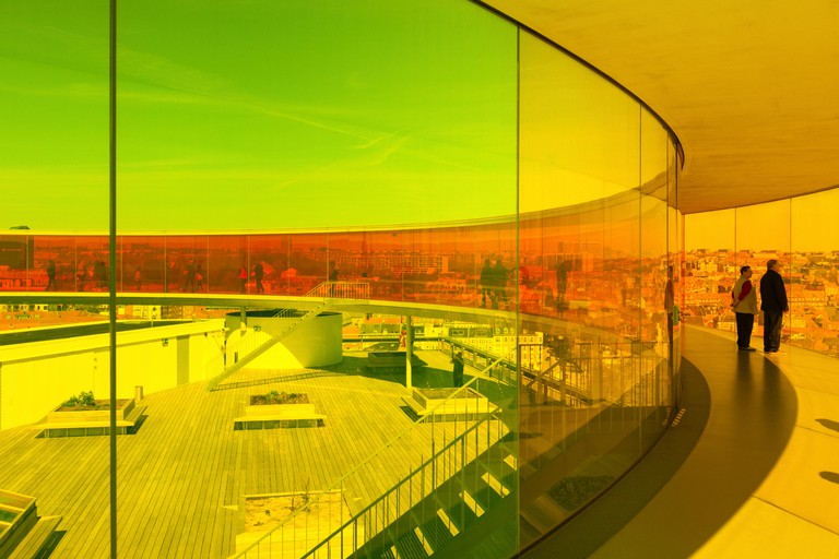 Aarhus, Denmark - May 2, 2017: Visitors inside Olafur Eliasson?s installation on top of ARoS, the art museum