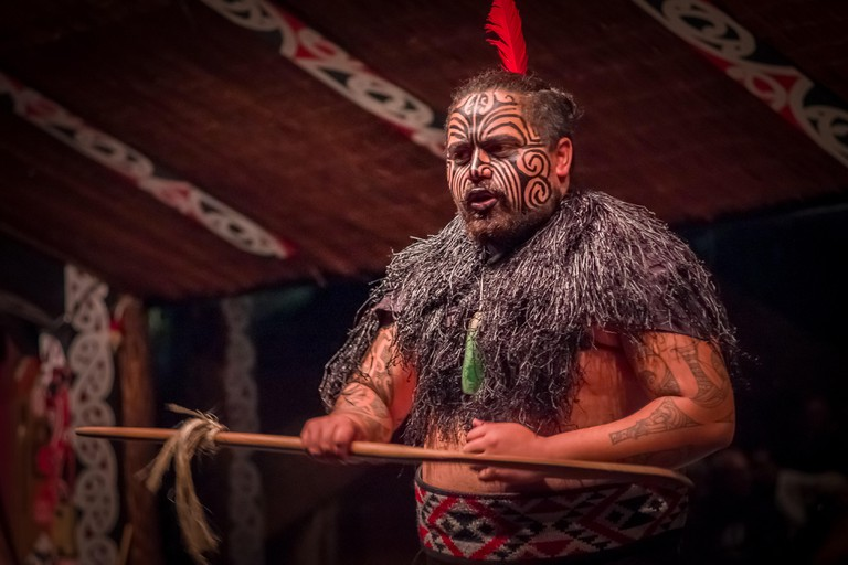 NORTH ISLAND, NEW ZEALAND- MAY 17, 2017: Close up of a Tamaki Maori leader man with traditionally tatooed face and in traditional dress at Maori Cultu