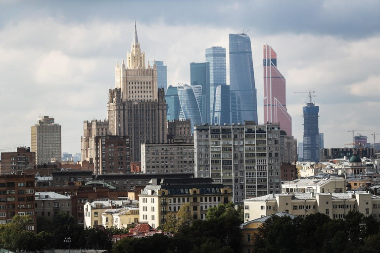Moscow, Russia. 7th Sep, 2017. A view of the Russian Foreign Ministry building and skyscrapers of the Moskva City Moscow International Business Center. Credit: Sergei Savostyanov/TASS/Alamy Live News
