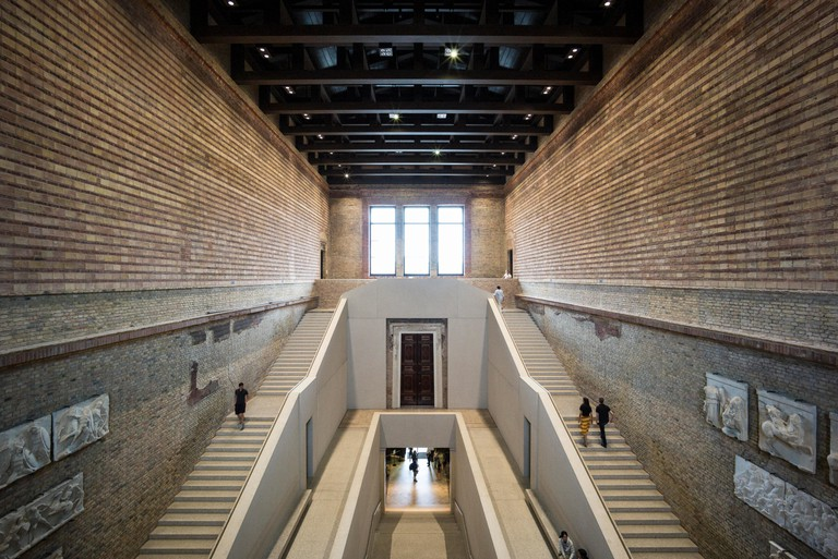 Berlin. Germany. The Neues Museum (New Museum), Museum Island, main staircase hall by David Chipperfield Architects in collaboration with Julian Harra