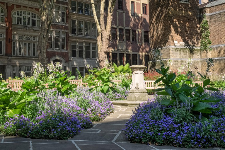 POSTMAN'S PARK, LONDON: View along one of the paths in the Park showing the centre of the gardens
