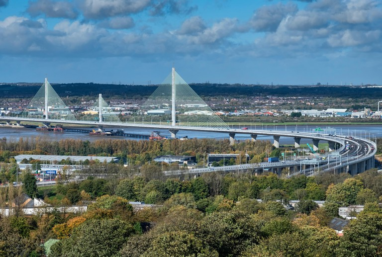 The Mersey Gateway Bridge over the Mersey Estuary between Runcorn and Widnes, Cheshire, England, UK. Image shot 10/2017. Exact date unknown.