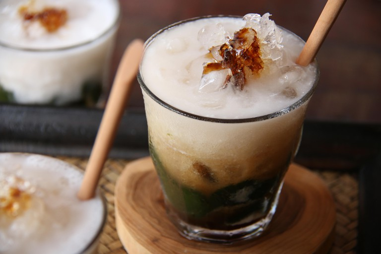 Green Grass Jelly with Coconut Milk and Palm Sugar
