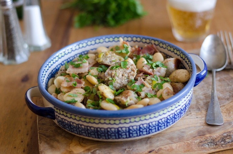 Cumberland sausage and butter bean casserole.