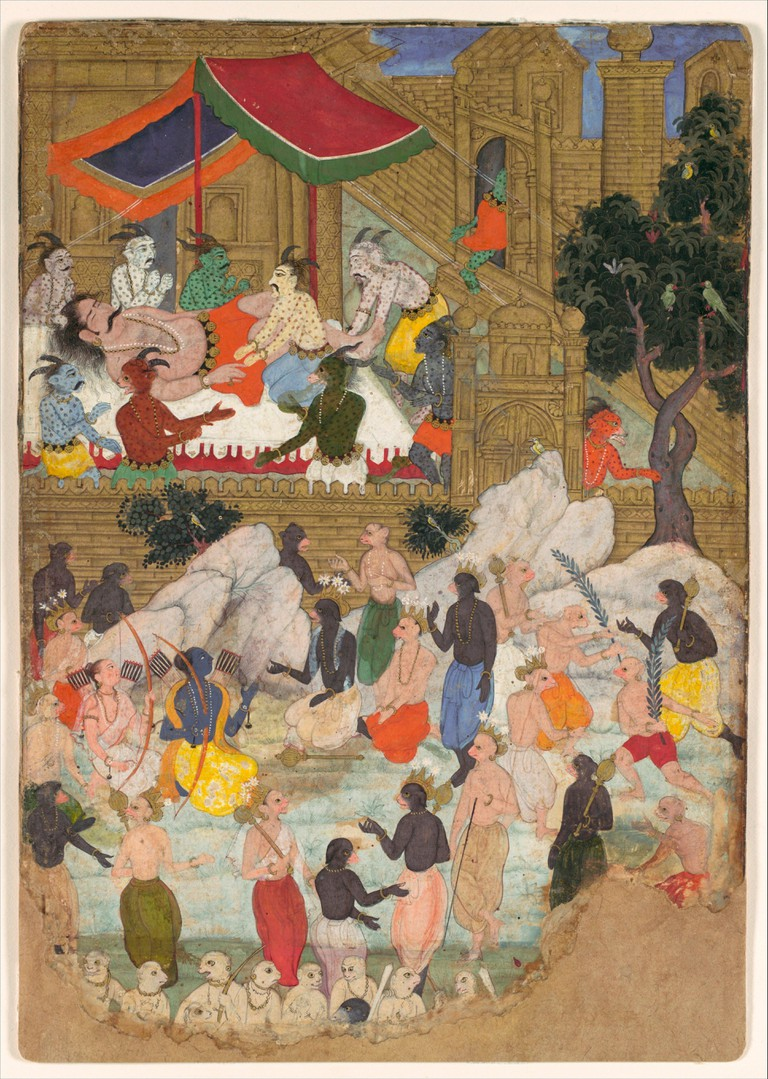 The Awakening of Kumbhakarna in the Golden City of Lanka, Folio from a Ramayana. Object Name: Folio from an illustrated manuscript; Date: ca. 1605;