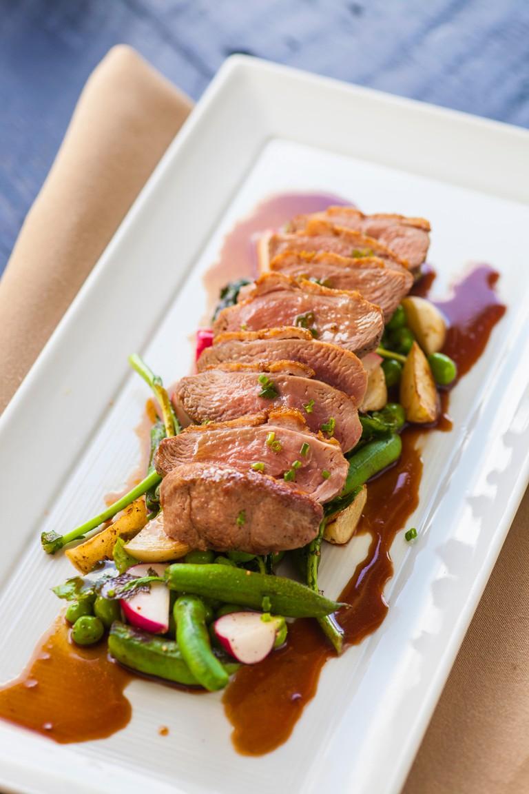 duck breast with garlic snap peas, The Gathering Table, The Ballard Inn and Restaurant, Ballard, Santa Ynez Valley, California