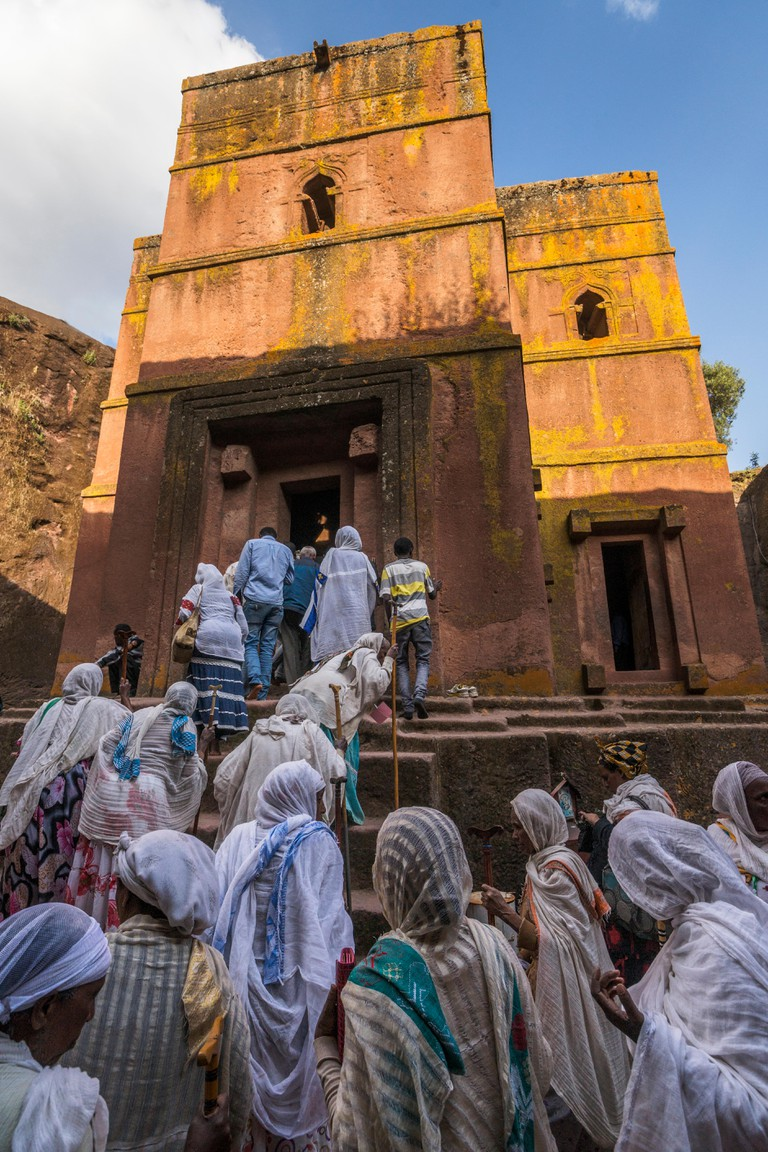 Pilgrims at Bet Giyorgis, Lalibela, Ethiopia