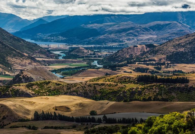 landscape of Kawarau River and Lake Wakatipu, Otago, New Zealand