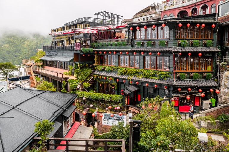 Tea house in Jiufen Old Street, a mountain area in Ruifang District, New Taipei City, Taiwan
