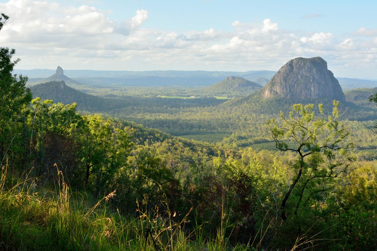 View of Mountains Tibberoowuccum, Coonowrin, Ngungun and Tibrogargan in Glass House Mountains region in Queensland, Australia.
