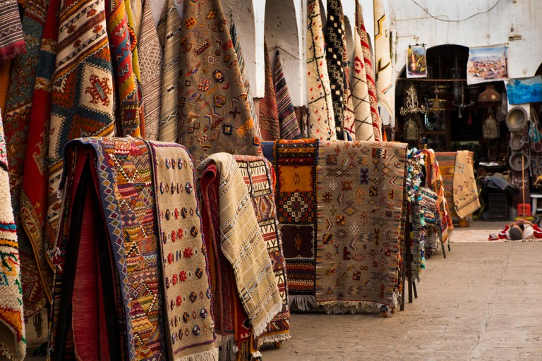 Morocco, Casablanca, Quartier Habous Souk, carpets, berber kilims and woven textiles on display