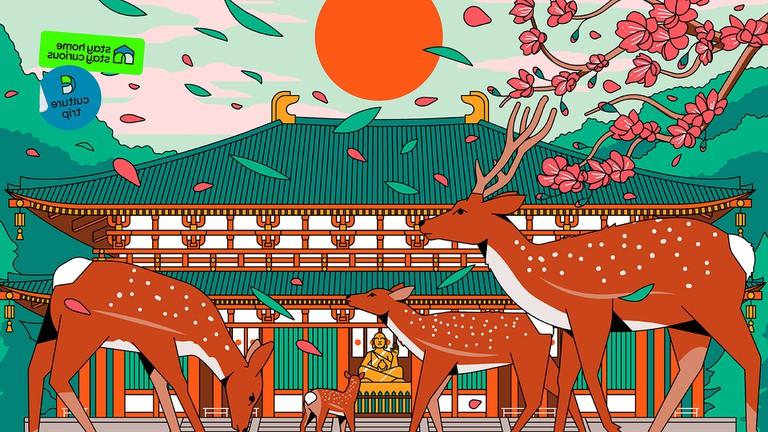 Nara Japan city illustration