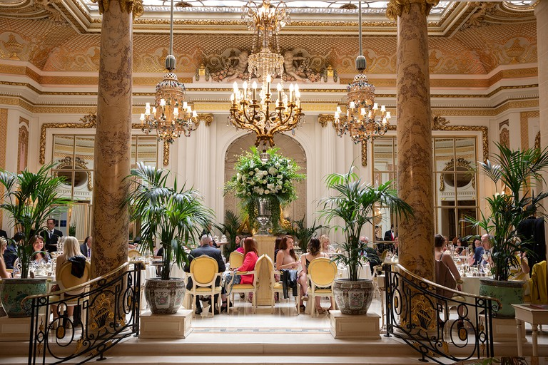 The Ritz Hotel, London. The Palm Court, which serves 'Tea at the Ritz'. Afternoon tea.