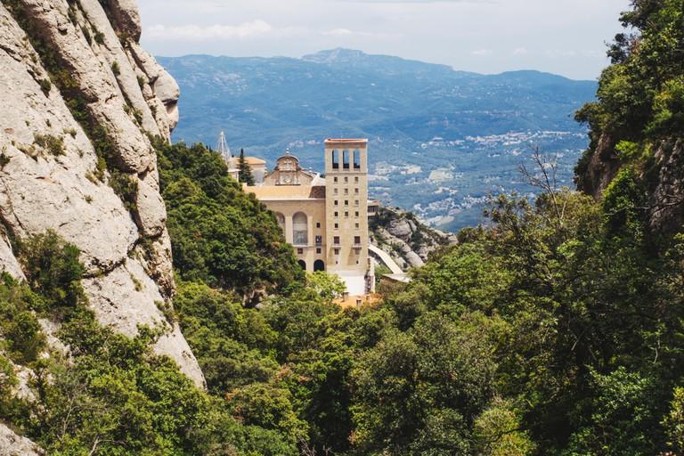 The mountains above the Santa Maria de Montserrat Abbey monastery, near Barcelona, Catalonia