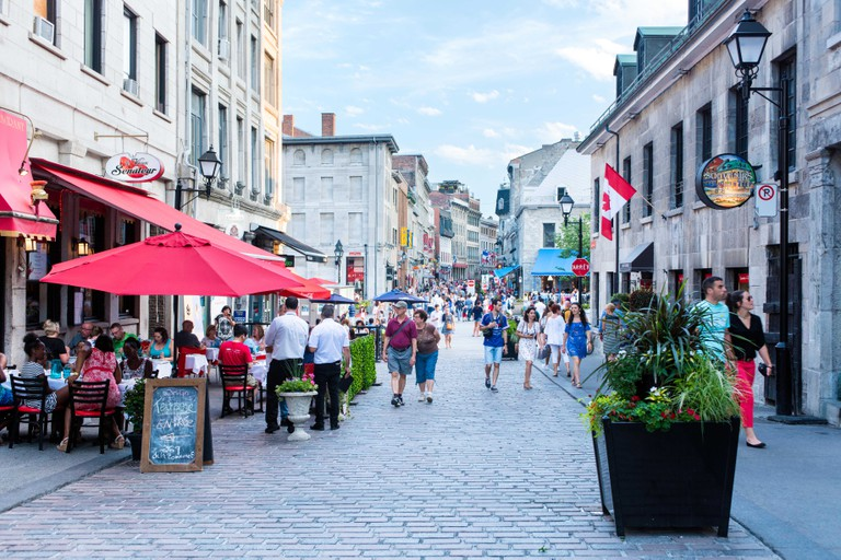 A street in Old Montreal during the day in summer