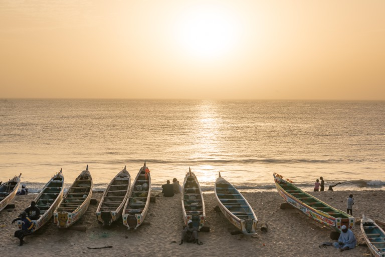 Sunset on the beach at Toubab Dialao, Senegal