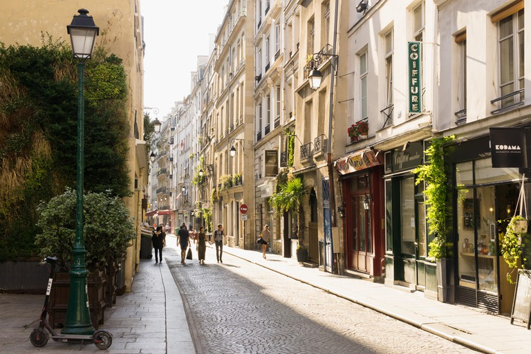 Paris street Rue Tiquetonne in late afternoon, France