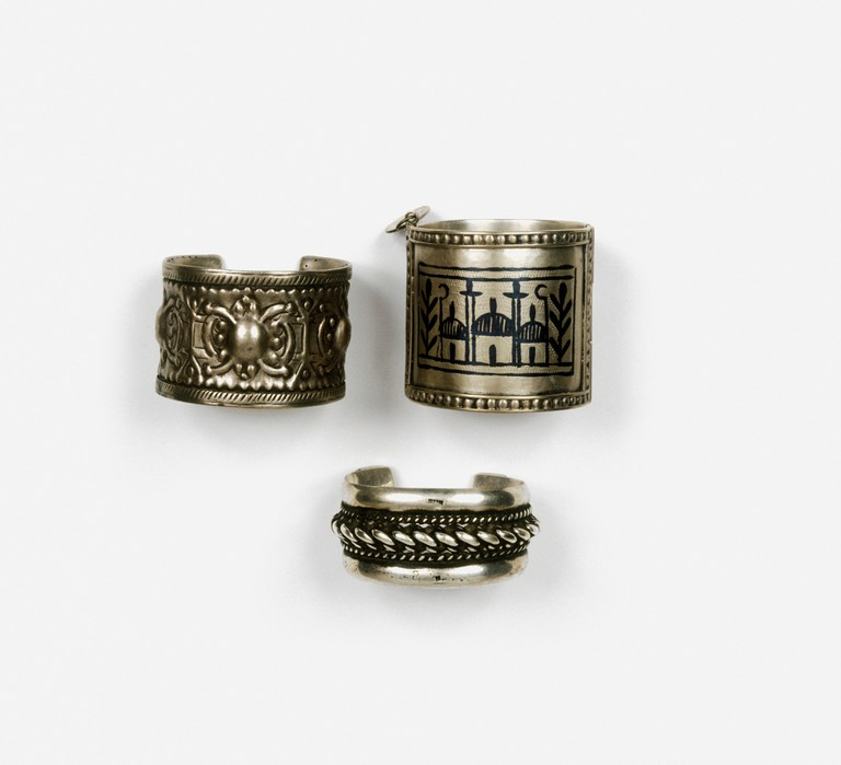 Three bedouin silver bracelets from North Africa