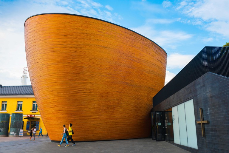 View of the Kamppi Chapel in the center of the city of Helsinki, Finland.