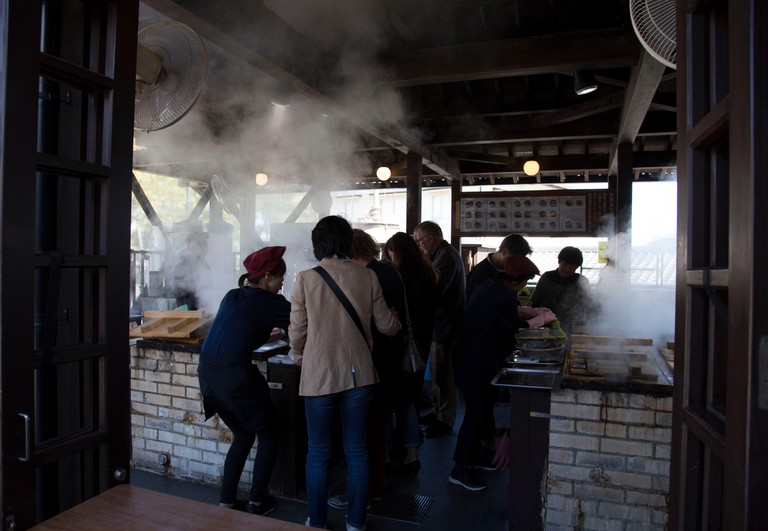Hot spring cooking in Beppu, Japan