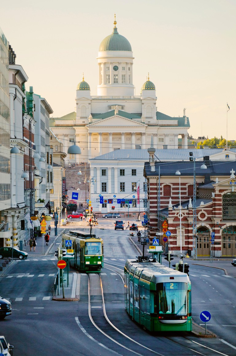 Streetcars by Helsinki Cathedral, Finland